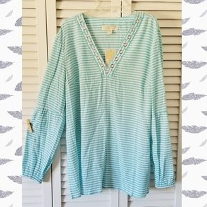 Michael Kors Turquoise and White Striped Tunic Top